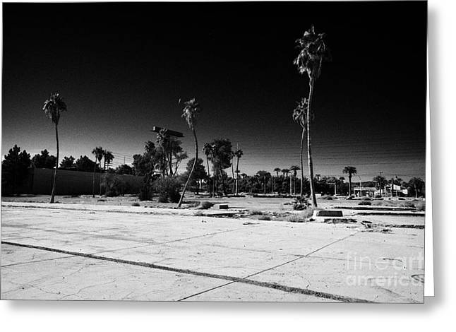 Empty Building Greeting Cards - empty building lot on the edge of the strip in paradise Las Vegas Nevada USA Greeting Card by Joe Fox