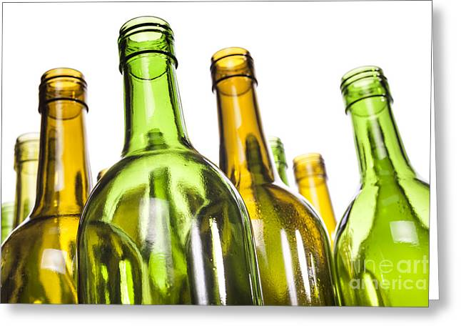 Wine-bottle Greeting Cards - Empty Glass Wine Bottles Greeting Card by Colin and Linda McKie