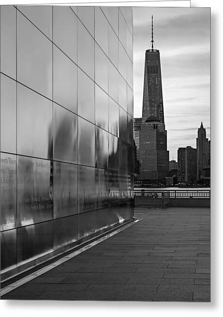 September 11 Wtc Greeting Cards - Empty Sky Memorial And Freedom Tower Sunrise Greeting Card by Susan Candelario