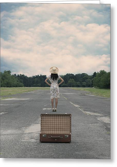 Sun Hat Greeting Cards - Empty Suitcase Greeting Card by Joana Kruse