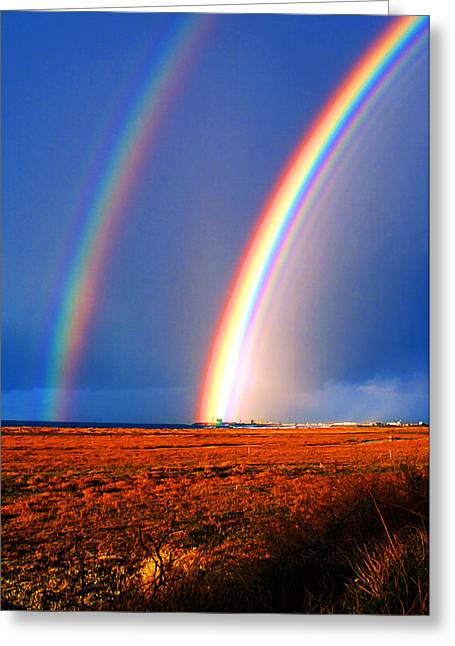 Double Rainbow Digital Art Greeting Cards - End of the Rainbow Greeting Card by Ron Regalado