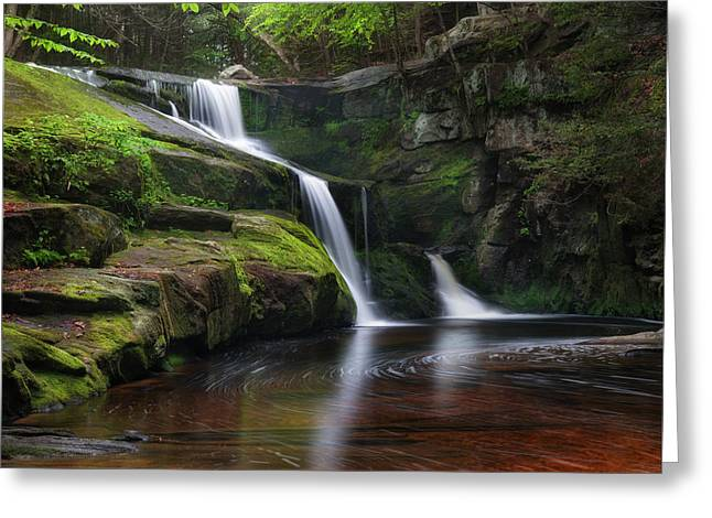 Ethereal Waterfalls Greeting Cards - Enders Falls Spring Square Greeting Card by Bill  Wakeley