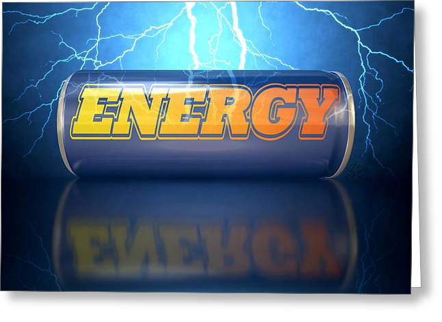 Soft Drink Greeting Cards - Energy Drink Can Greeting Card by Allan Swart