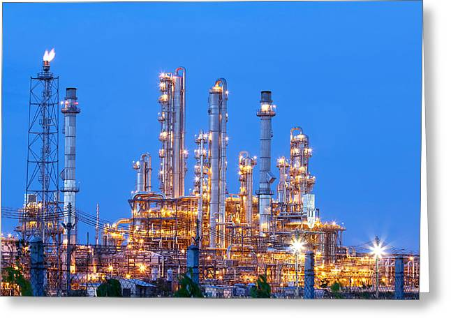 Power Plants Pyrography Greeting Cards - Energy fron petrochemical plant - Night scene Greeting Card by Supakit Poroon