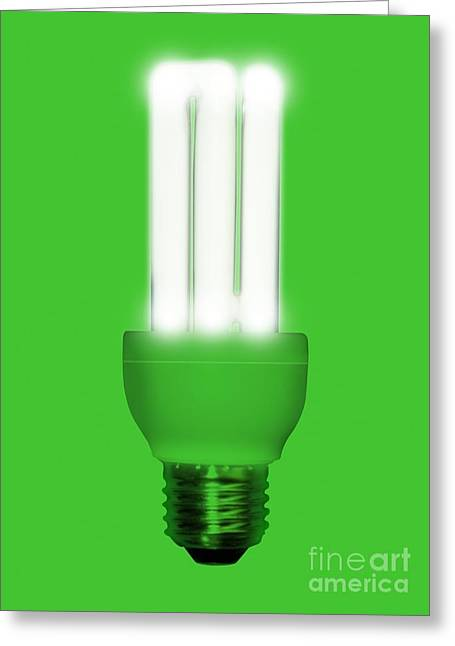 Edison Greeting Cards - Energy-saving Light Bulb, Artwork Greeting Card by Victor Habbick Visions
