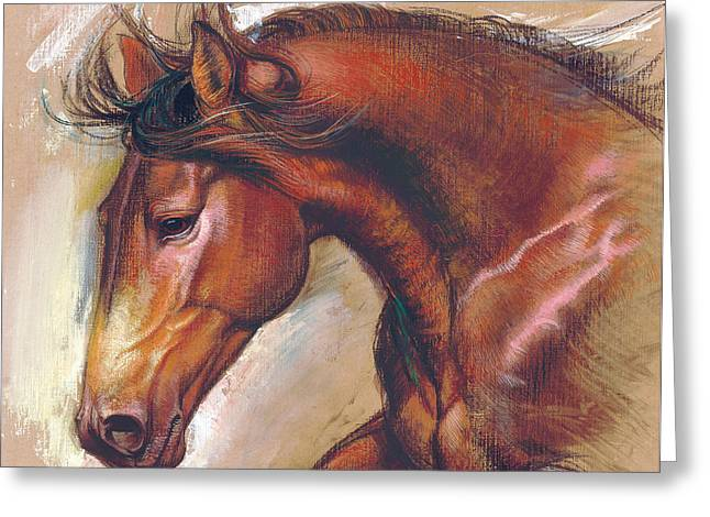 Clips Greeting Cards - English Horse Variant 1 Greeting Card by Zorina Baldescu