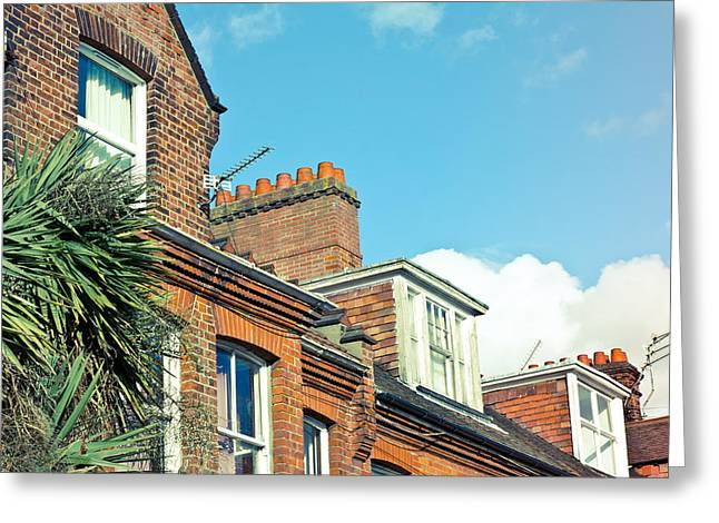 Neighbor Greeting Cards - English houses Greeting Card by Tom Gowanlock