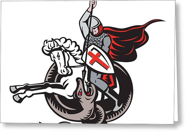 English Knight Fighting Dragon England Flag Shield Retro Greeting Card by Aloysius Patrimonio