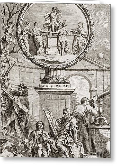 1751 Greeting Cards - Engraving Depicting Discord And Harmony Greeting Card by Middle Temple Library