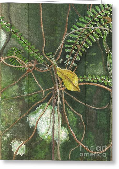Tropical Rainforests Mixed Media Greeting Cards - Entanglement Greeting Card by Kerryn Madsen-Pietsch