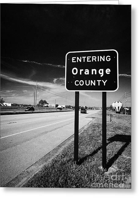 Entering Orange County On The Us 192 Highway Near Orlando Florida Usa Greeting Card by Joe Fox
