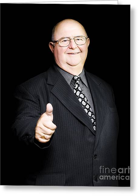 Enthusiastic Positive Senior Business Man Greeting Card by Jorgo Photography - Wall Art Gallery