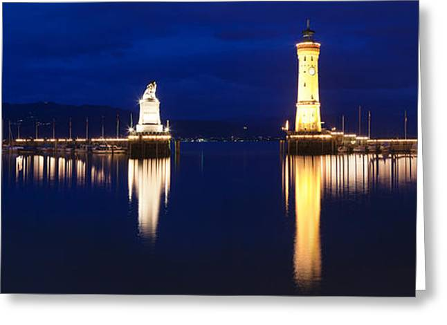 Lions Greeting Cards - Entrance Of The Harbor Greeting Card by Panoramic Images
