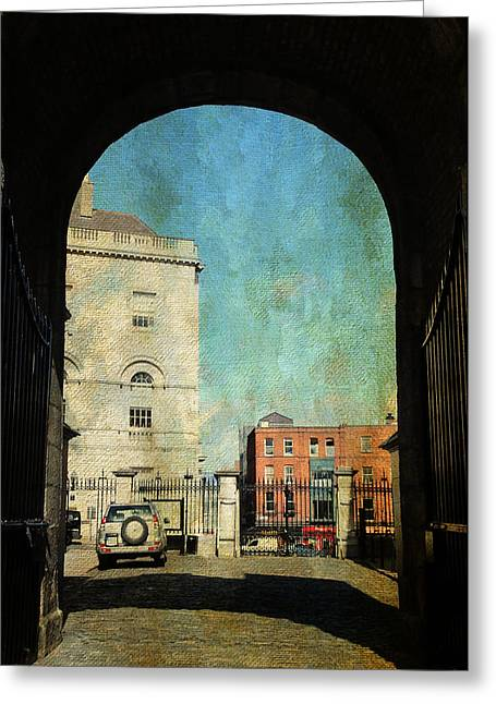 Watch Tower Greeting Cards - Entrance to the Dublin Castle. Streets of Dublin. Painting Collection Greeting Card by Jenny Rainbow