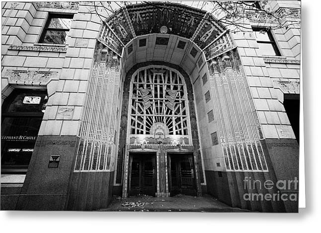 North Vancouver Greeting Cards - entrance to the marine building in the heritage district Vancouver BC Canada Greeting Card by Joe Fox