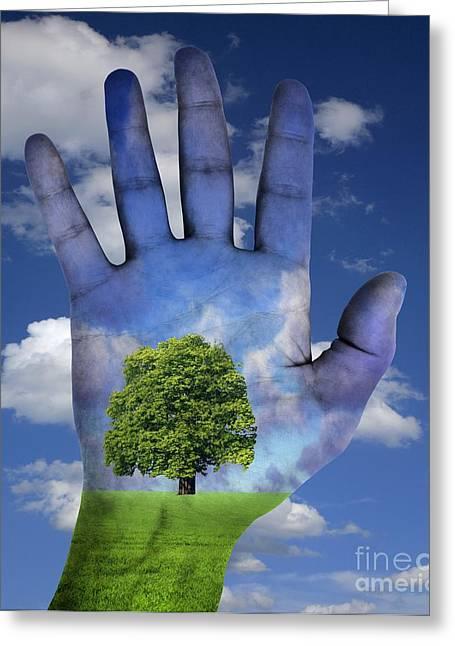Human Awareness Greeting Cards - Environmental Awareness, Conceptual Greeting Card by Victor de Schwanberg