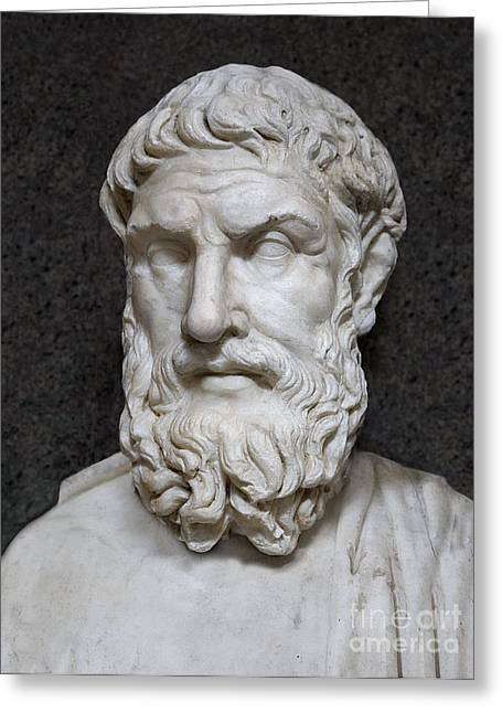 Epicurus Greeting Cards - Epicurus Greeting Card by Sheila Terry