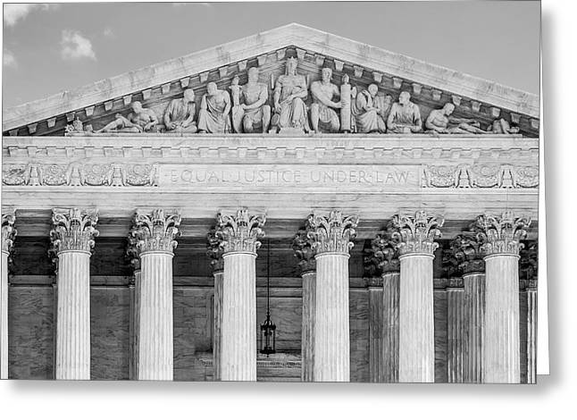 D.w Greeting Cards - Equal Justice Under Law BW Greeting Card by Susan Candelario