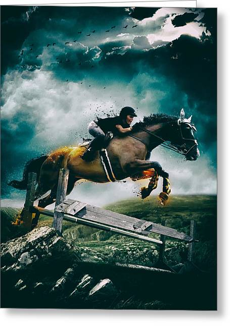 Equestrian Digital Art Greeting Cards - Equestrian Jumper Greeting Card by Mountain Dreams