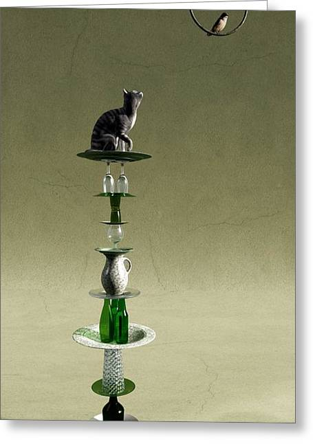 Vertical Digital Art Greeting Cards - Equilibrium III Greeting Card by Cynthia Decker
