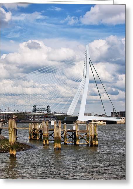 Wooden Building Greeting Cards - Erasmus Bridge in Rotterdam Greeting Card by Artur Bogacki