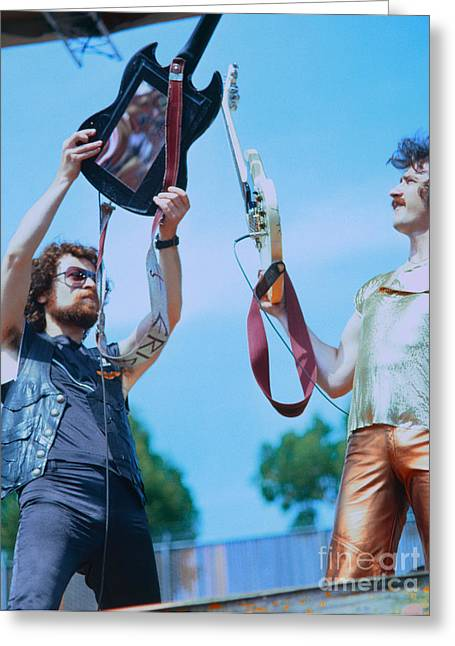 Cult Photos Greeting Cards - Eric Bloom and Buck Dharma of Blue Oyster Cult at Day on the Green in Oakland Greeting Card by Daniel Larsen