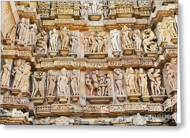 Mahadeva Greeting Cards - Erotic Human Sculptures Khajuraho India Greeting Card by Rudra Narayan  Mitra