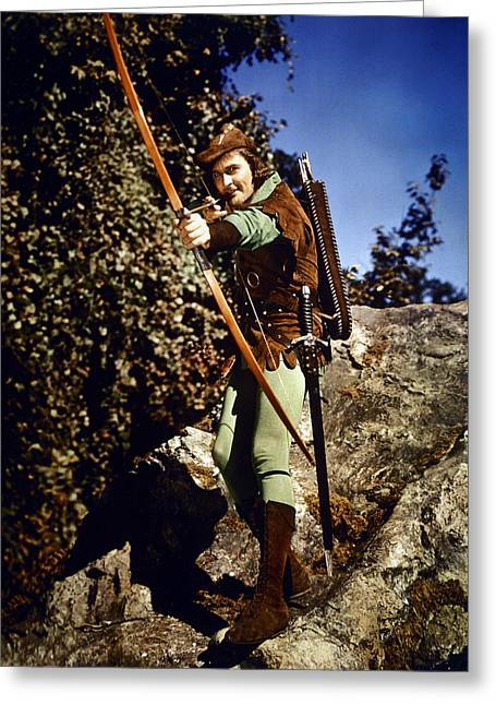 Flynn Greeting Cards - Errol Flynn in The Adventures of Robin Hood Greeting Card by Silver Screen