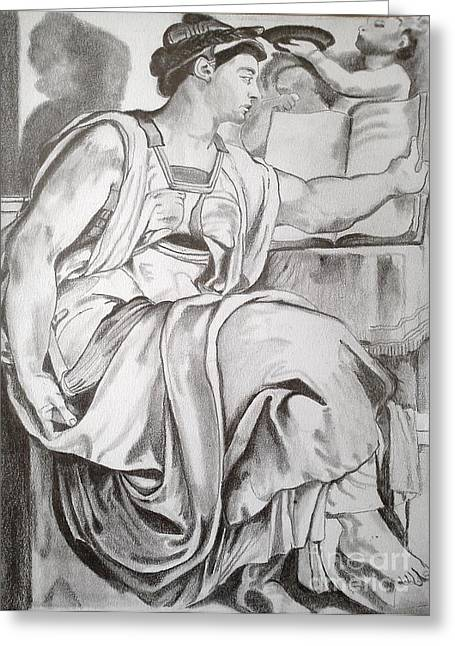 Buonarroti Drawings Greeting Cards - Erythraean Sibyl Greeting Card by Franca Sorice