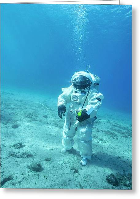 Esa Underwater Astronaut Training Greeting Card by Alexis Rosenfeld