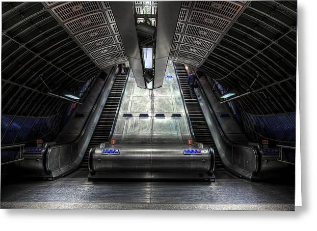 Perspective Mixed Media Greeting Cards - Escalator Greeting Card by Svetlana Sewell