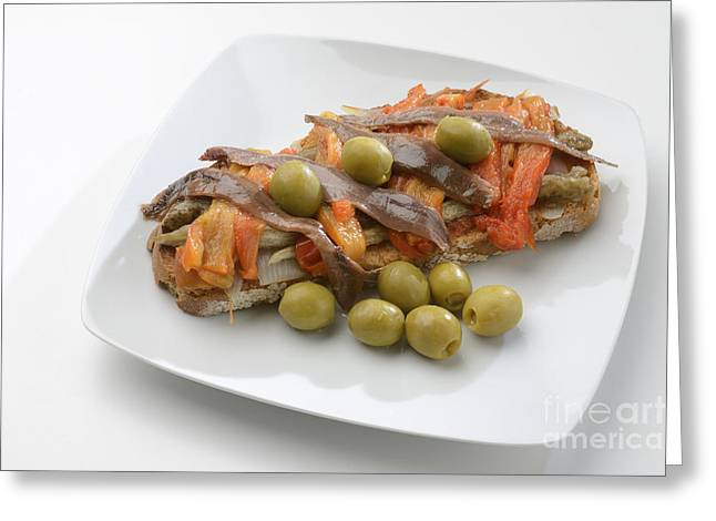 Vegeterian Greeting Cards - Escalivada And Olives And Anchovies On Toast Greeting Card by Josep Maria Penalver