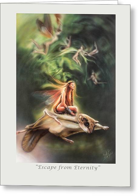 Faeries Greeting Cards - Escape from Eternity Greeting Card by Marissa Oosterlee