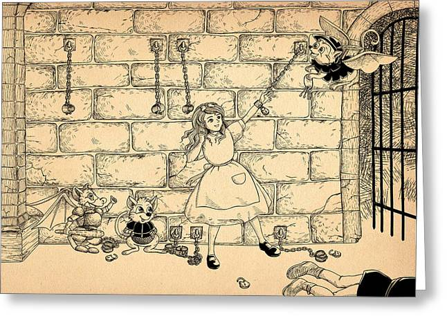 Dungeons Drawings Greeting Cards - Escape Greeting Card by Reynold Jay