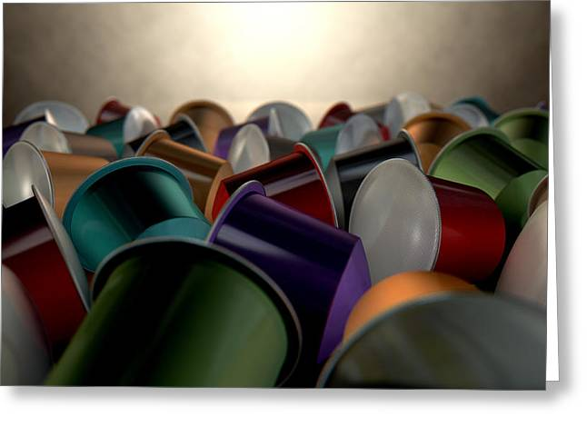 Italian Restaurant Digital Greeting Cards - Espresso Coffee Capsules Greeting Card by Allan Swart