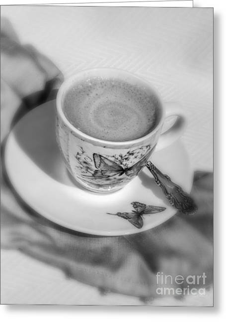 Espresso In Butterfly Cup In Black And White Greeting Card by Iris Richardson