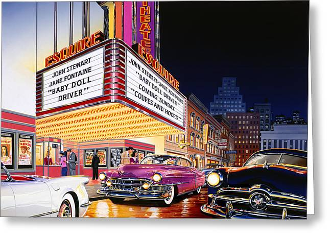 Bodywork Greeting Cards - Esquire Theater Greeting Card by Bruce Kaiser
