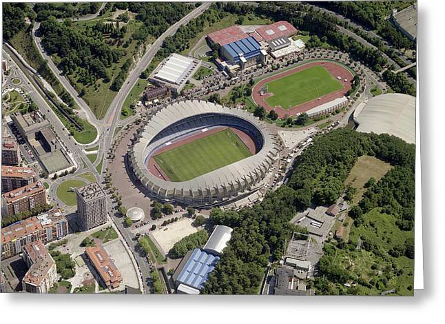 Geometric Image Greeting Cards - Estadio Anoeta Greeting Card by Blom ASA