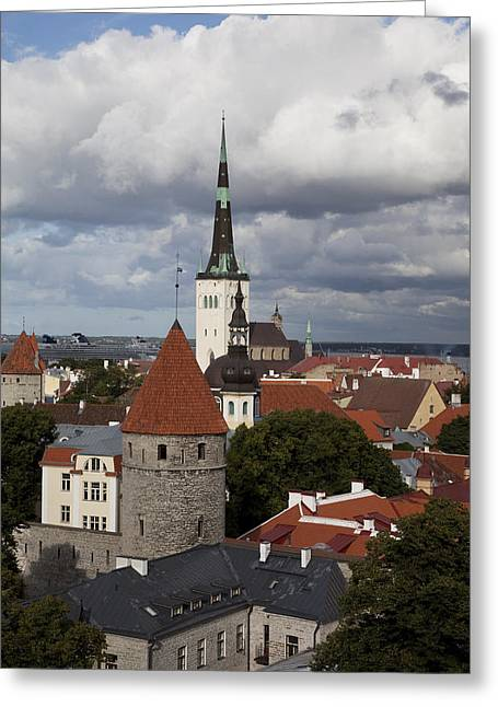 Tallinn Greeting Cards - Estonia, Tallin, Overview Of The Old Greeting Card by Tips Images