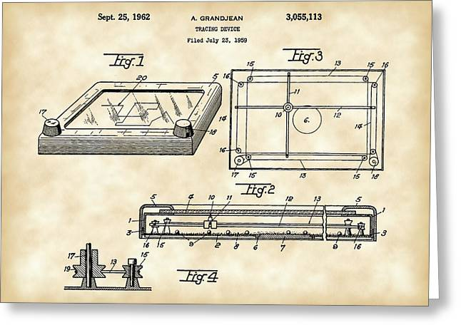 Etch A Sketch Greeting Cards - Etch A Sketch Patent 1959 - Vintage Greeting Card by Stephen Younts