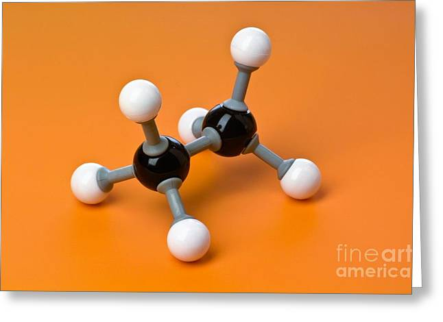 Organic Compound Greeting Cards - Ethane, Molecular Model Greeting Card by Martyn F. Chillmaid