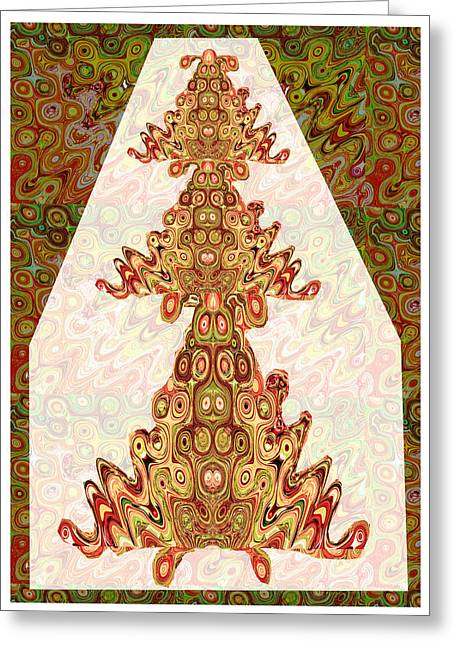 Aboriginal Mixed Media Greeting Cards - Ethinic Indian Aboriginal India Spiritual Vintage Palace Temple Walls style Images of Spirits Ghosts Greeting Card by Navin Joshi