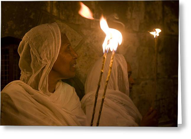 Spirtuality Greeting Cards - Ethiopian holy fire ceremony Greeting Card by Kobby Dagan