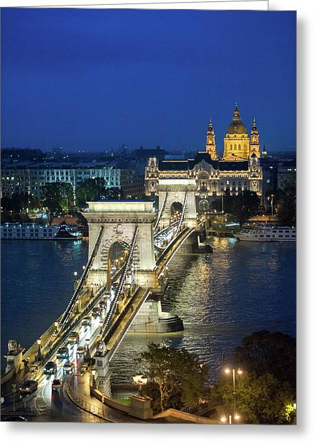Europe, Hungary, Budapest, Chain Greeting Card by Jim Engelbrecht
