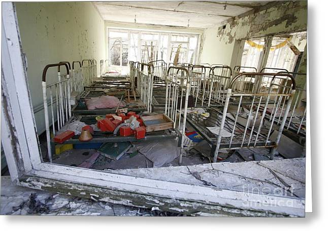 Contaminated Greeting Cards - Evacuated Kindergarten Near Chernobyl Greeting Card by RIA Novosti