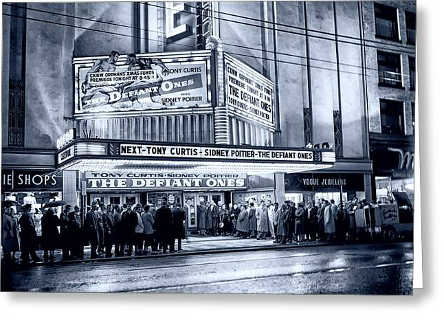 Evening At The Theatre - Vancouver 1958 Greeting Card by Mountain Dreams