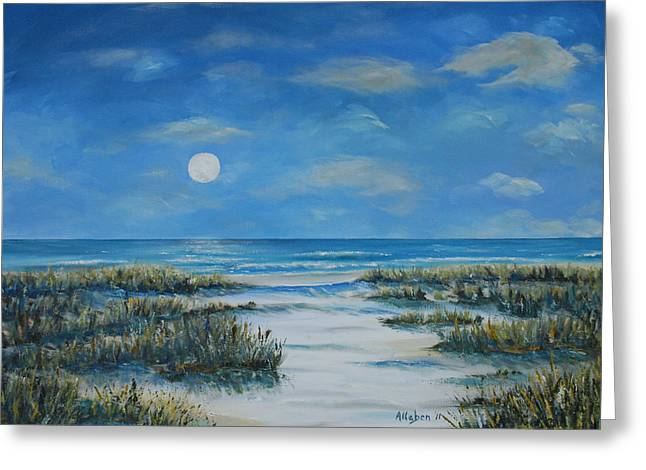 Moon Beach Greeting Cards - Evening Calm Greeting Card by Stanton Allaben
