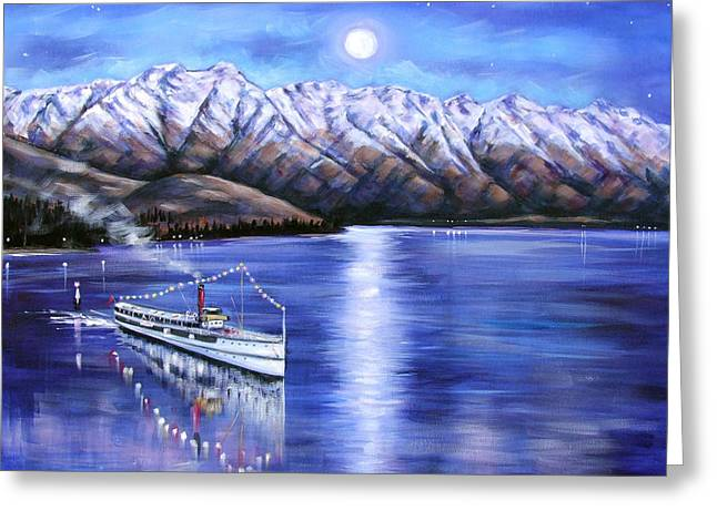 Ski Boat Prints Paintings Greeting Cards - Evening Cruise Queenstown Greeting Card by Ira Mitchell-Kirk