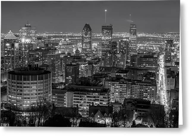 Montreal Urban Landscapes Greeting Cards - Evening in Montreal Greeting Card by Mountain Dreams