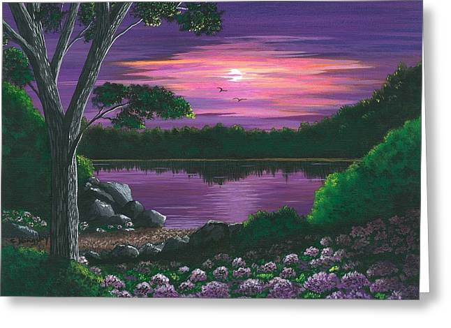 Cyndi Kingsley Greeting Cards - Evening In Purple Greeting Card by Cyndi Kingsley